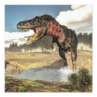 3D dinosaurus van Tarbosaurus - geef terug 13,3x13,3 Vierkante Uitnodiging Kaart