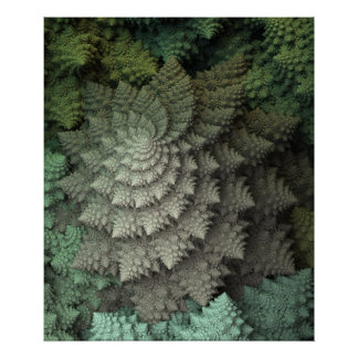3D Fractal Broccoli Poster