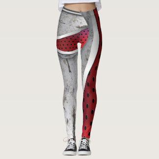 3D geweven rood en grijs Leggings
