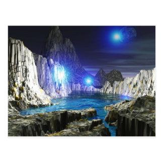 3d kunst blauwe maan briefkaart