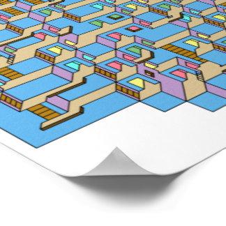 3d Labyrint van de Kubus Poster