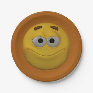 3D Stijl Smiley 4 Papieren Bordje