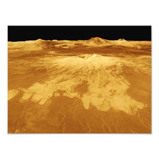 3D Uitzicht van het Perspectief van Sapas Mons op  Foto Print