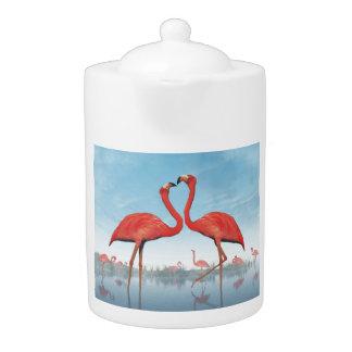 3D vrijage van flamingo's - geef terug