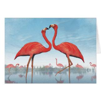 3D vrijage van flamingo's - geef terug Briefkaarten 0