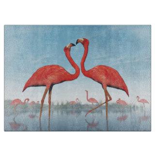 3D vrijage van flamingo's - geef terug Snijplank