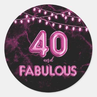 40 en Fabelachtige Lichten & de Roze Ballons van Ronde Sticker