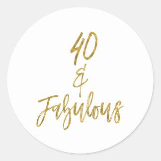 40 & Fabelachtige | Veertig en Fabelachtig Ronde Sticker