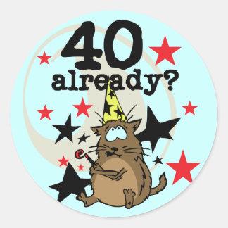 40 reeds Verjaardag Ronde Sticker