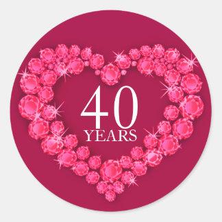 40 van de robijnrode hart rode & witte jaar ronde sticker
