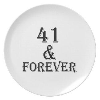 41 en voor altijd het Design van de Verjaardag Bord