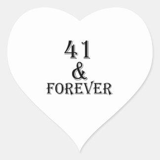 41 en voor altijd het Design van de Verjaardag Hart Sticker