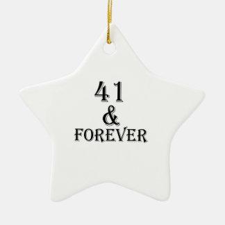 41 en voor altijd het Design van de Verjaardag Keramisch Ster Ornament