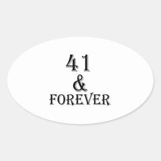 41 en voor altijd het Design van de Verjaardag Ovale Sticker