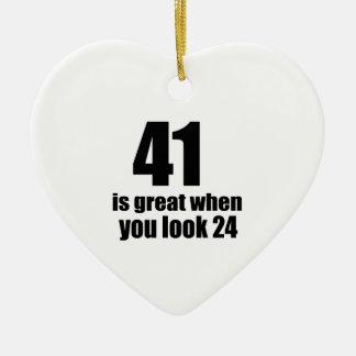41 is Groot wanneer u Verjaardag kijkt Keramisch Hart Ornament