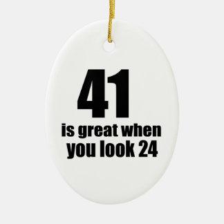 41 is Groot wanneer u Verjaardag kijkt Keramisch Ovaal Ornament