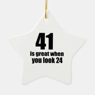 41 is Groot wanneer u Verjaardag kijkt Keramisch Ster Ornament