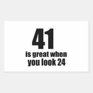 41 is Groot wanneer u Verjaardag kijkt Rechthoekige Sticker