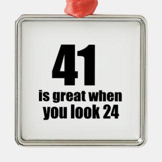 41 is Groot wanneer u Verjaardag kijkt Zilverkleurig Vierkant Ornament