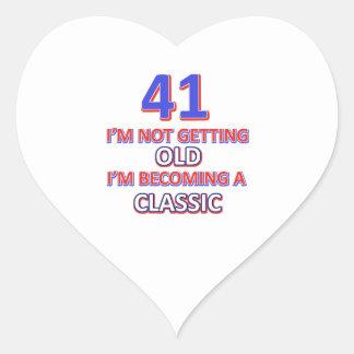 41 verjaardagsdesign hartvormige sticker