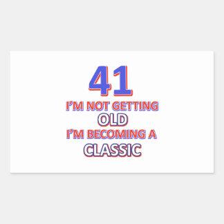 41 verjaardagsdesign rechthoekige sticker