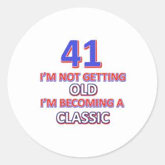 41 verjaardagsdesign ronde stickers