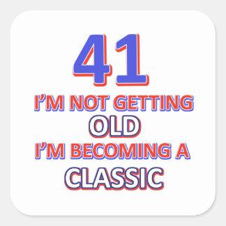 41 verjaardagsdesign vierkante sticker