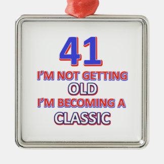 41 verjaardagsdesign zilverkleurig vierkant ornament
