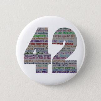 42: Het leven het Heelal en alles Ronde Button 5,7 Cm