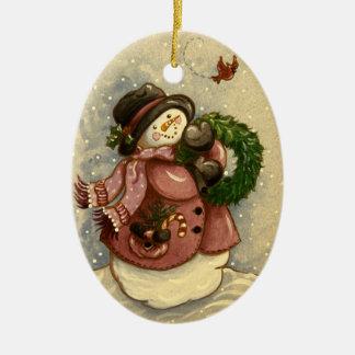4886 HoofdKerstmis van de Kroon van de sneeuwman Keramisch Ovaal Ornament