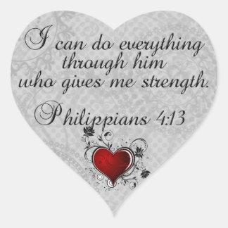 4:13 van Philippians van het Vers van de bijbel Hart Sticker