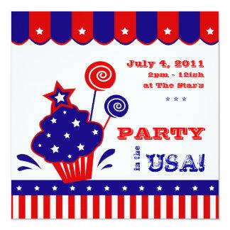 4 BBQ van de Dag van de Onafhankelijkheid van juli 13,3x13,3 Vierkante Uitnodiging Kaart