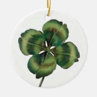 4 de Klaver van het blad Rond Keramisch Ornament