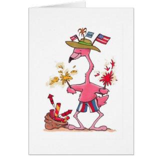 4 het Vuurwerk van de Flamingo van juli notecard Kaart
