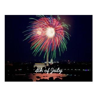 4 het Vuurwerk van juli, Washington DC Briefkaart