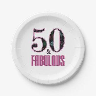 50 & de Fabelachtige Roze Zwarte Verjaardag van de Papieren Bordje