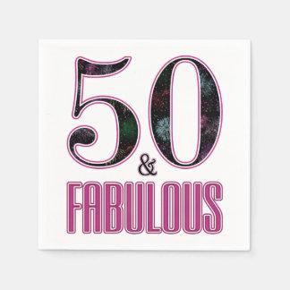 50 & de Fabelachtige Roze Zwarte Verjaardag van de Papieren Servetten