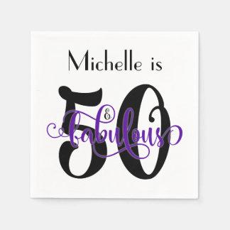 50 & de Fabelachtige Zwarte en Paarse Verjaardag Wegwerp Servetten
