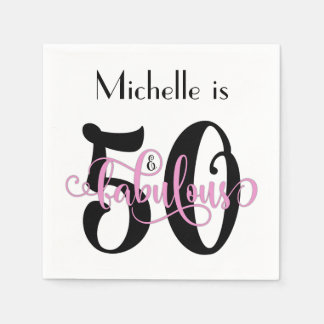 50 & de Fabelachtige Zwarte en Roze Verjaardag van Wegwerp Servetten
