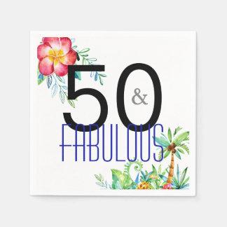 50 en Fabelachtige Tropische 50ste Verjaardag Wegwerp Servet