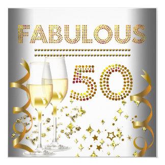 50 fabelachtig Gouden Champagne 13,3x13,3 Vierkante Uitnodiging Kaart