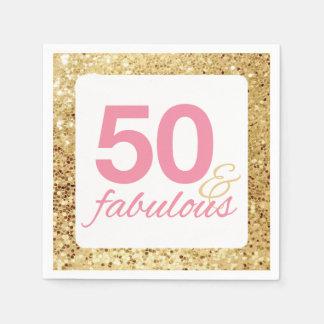 50 & Fabelachtig Gouden Lovertje Faux en Roze Wegwerp Servet