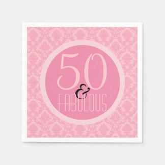 50 & Fabelachtig Roze Damast de 50ste Verjaardag Wegwerp Servetten