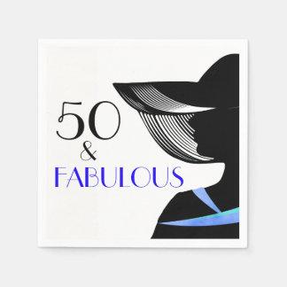 50 & Fabelachtige dame met hand en blauwe teksten Papieren Servetten