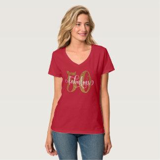 50 & het Fabelachtige Goud schitteren Typografie 4 T Shirt