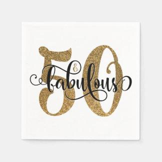 50 & het Fabelachtige Goud schitteren Typografie Papieren Servetten