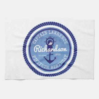 50ste Verjaardag Kapitein Nautical Rope Anchor Theedoek