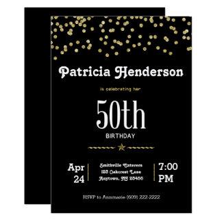 50ste Verjaardag met Schitterend Goud 12,7x17,8 Uitnodiging Kaart