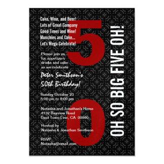 50ste Verjaardag Zwarte Witte Rode GROTE VIJF OH! 12,7x17,8 Uitnodiging Kaart