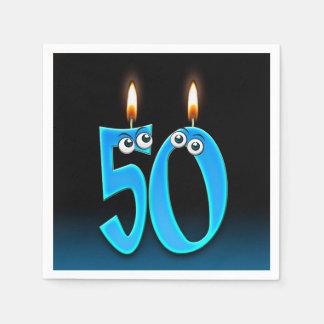 50ste verjaardagskaars met oogappels wegwerp servetten